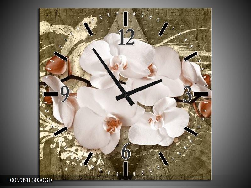Wandklok op Glas Orchidee | Kleur: Goud, Wit, Bruin | F005981CGD