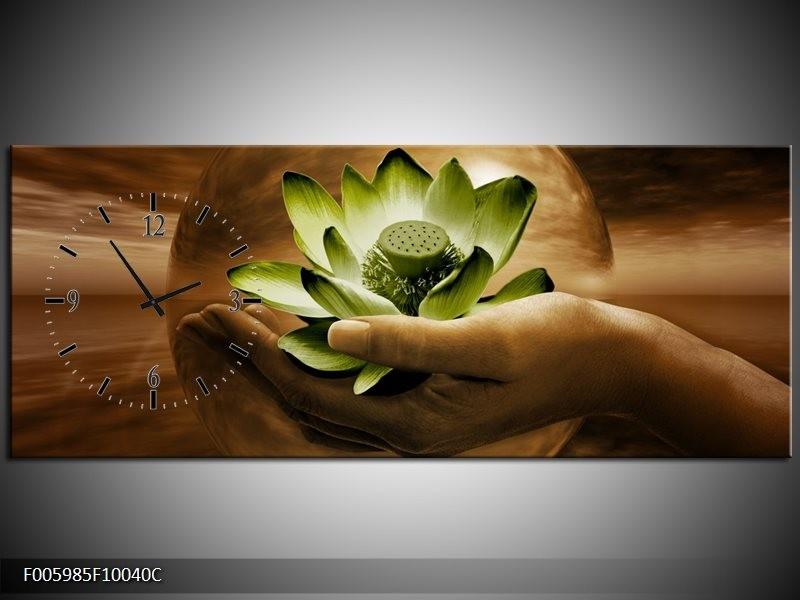 Klok schilderij Bloem | Groen, Bruin | 100x40cm 1Luik