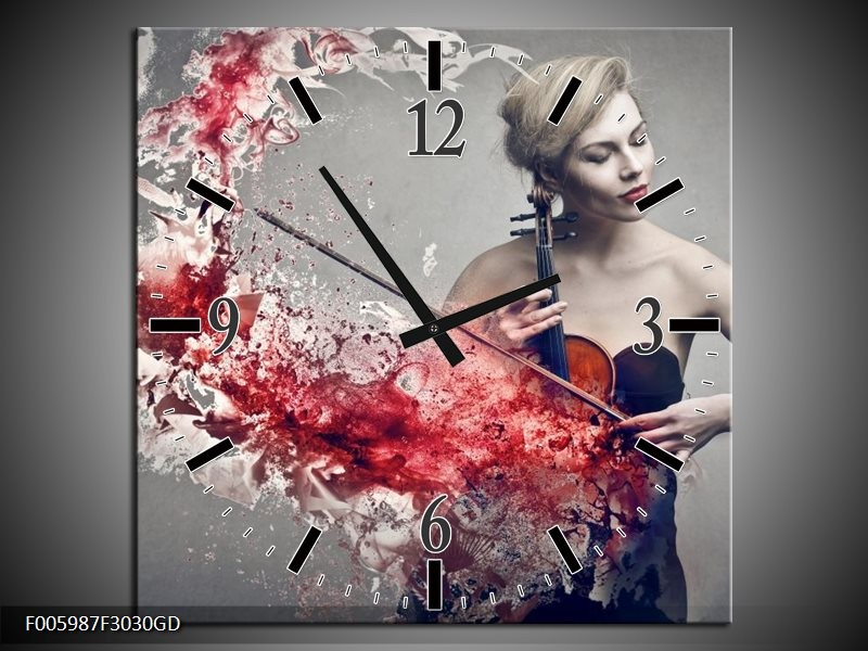Wandklok op Glas Muziek | Kleur: Rood, Grijs | F005987CGD