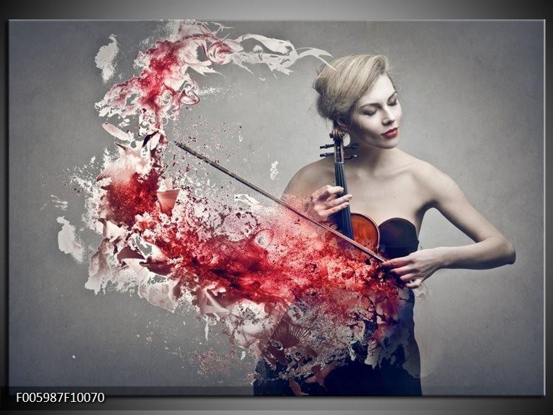 Glas schilderij Muziek   Rood, Grijs