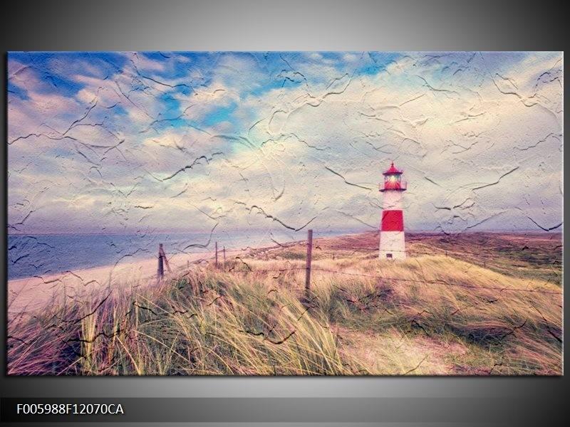 Canvas ART schilderij Strand | Blauw, Rood | 120x70cm 1Luik