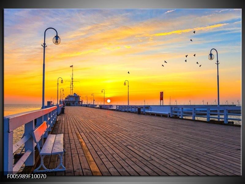 Glas schilderij Vakantie | Geel, Blauw, Oranje