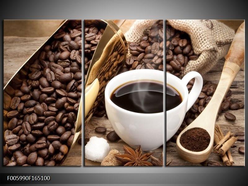Canvas schilderij Koffie | Bruin, Wit, Goud | 165x100cm 3Luik