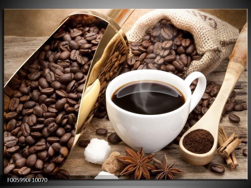Glas schilderij Koffie | Bruin, Wit, Goud