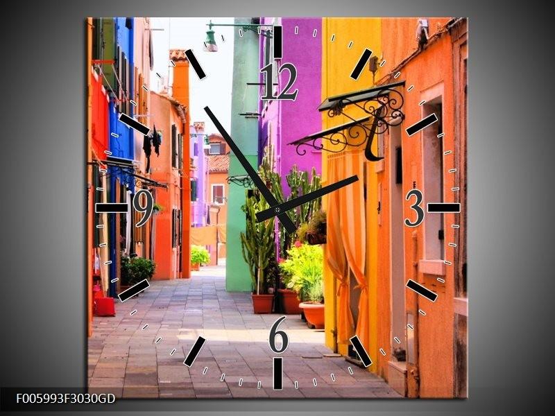 Wandklok op Glas Venetie | Kleur: Oranje, Paars, Blauw | F005993CGD