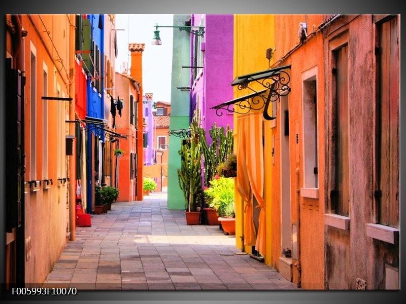 Glas schilderij Venetië | Oranje, Paars, Blauw