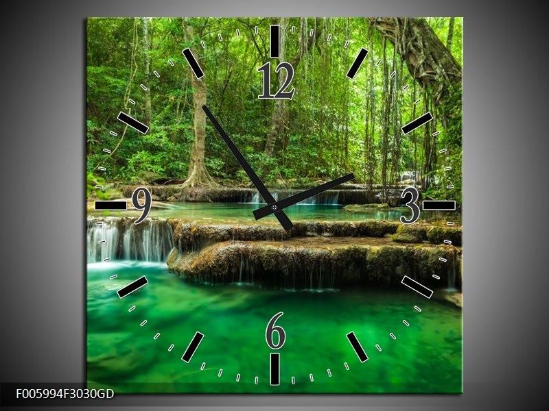 Wandklok op Glas Natuur | Kleur: Groen | F005994CGD