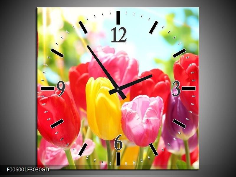 Wandklok op Glas Tulpen | Kleur: Rood, Geel, Paars | F006001CGD