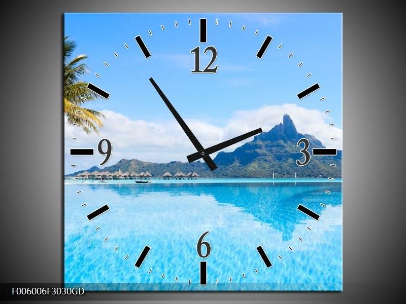 Wandklok op Glas Vakantie | Kleur: Blauw, Groen, Wit | F006006CGD