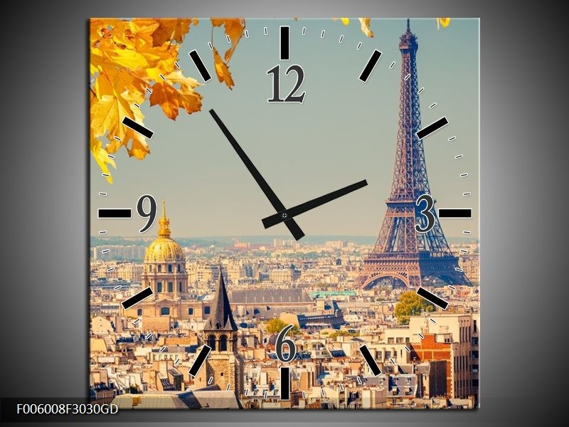 Wandklok op Glas Parijs | Kleur: Oranje, Bruin | F006008CGD