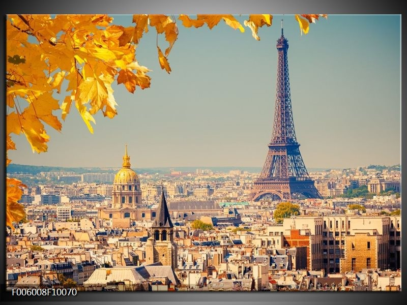 Glas schilderij Parijs | Oranje, Bruin