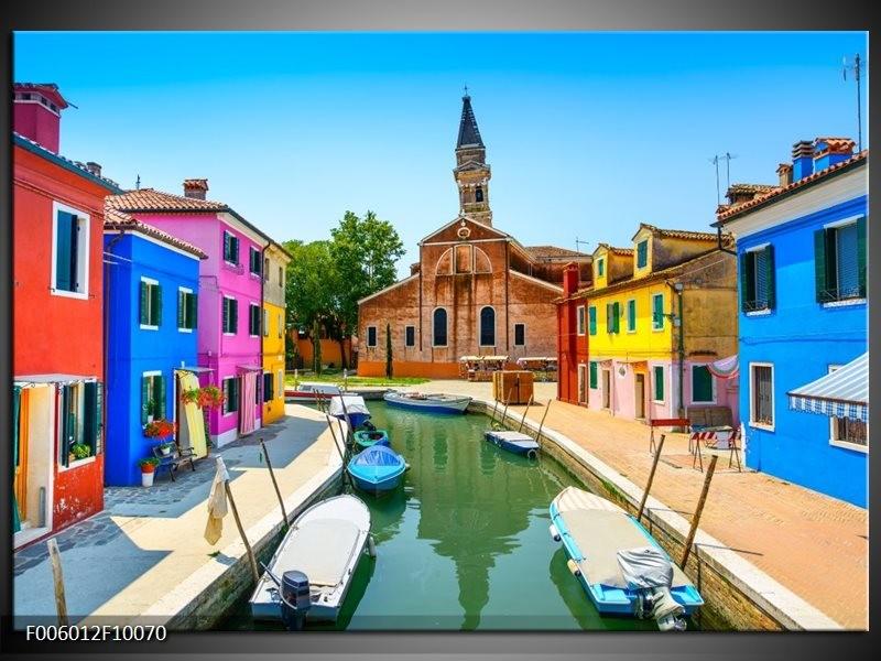 Glas schilderij Venetië | Blauw, Rood, Roze