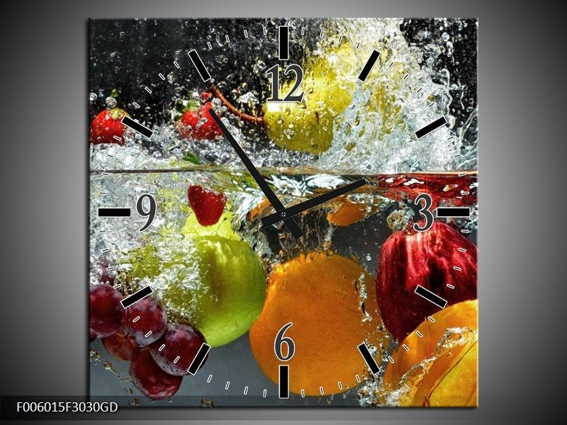 Wandklok op Glas Fruit | Kleur: Grijs, Oranje | F006015CGD