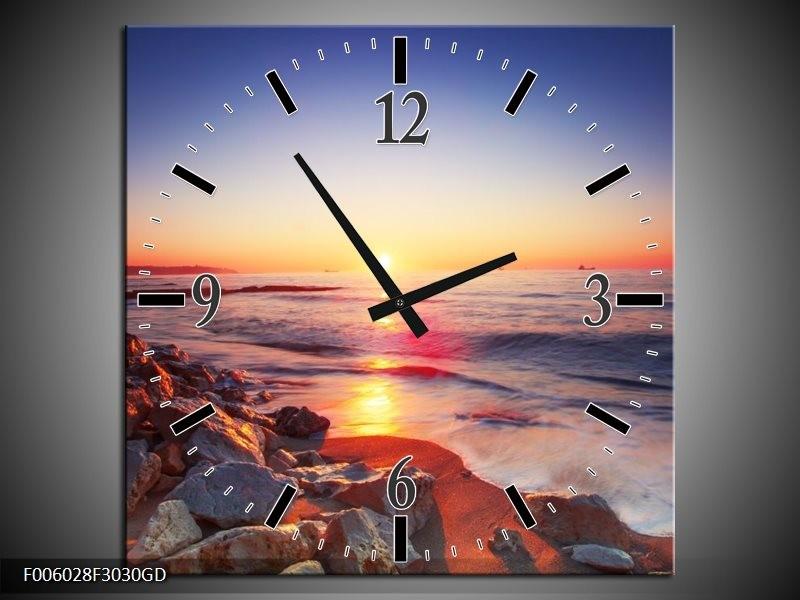 Wandklok op Glas Zonsondergang | Kleur: Rood, Oranje, Grijs | F006028CGD