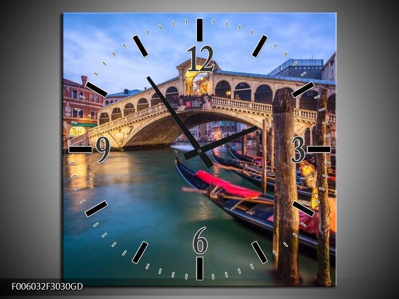 Wandklok op Glas Venetie | Kleur: Blauw, Groen, Bruin | F006032CGD