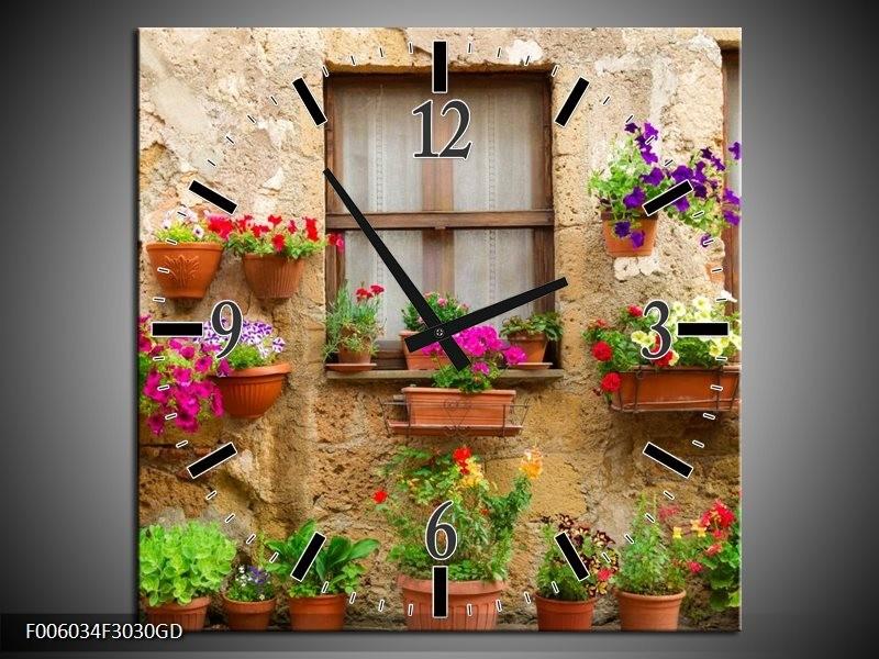 Wandklok op Glas Huis | Kleur: Groen, Bruin | F006034CGD