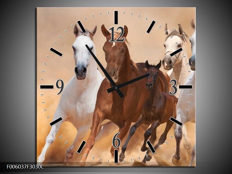 Wandklok op Canvas Paard   Kleur: Bruin, Wit, Creme   F006037C