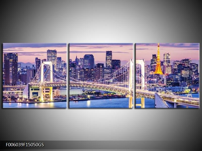 Glas schilderij Brug | Blauw, Grijs | 150x50cm 3Luik