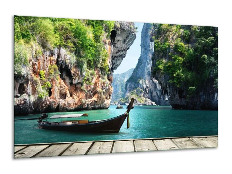 Glas schilderij Boot | Groen, Blauw | 120x70cm 1Luik
