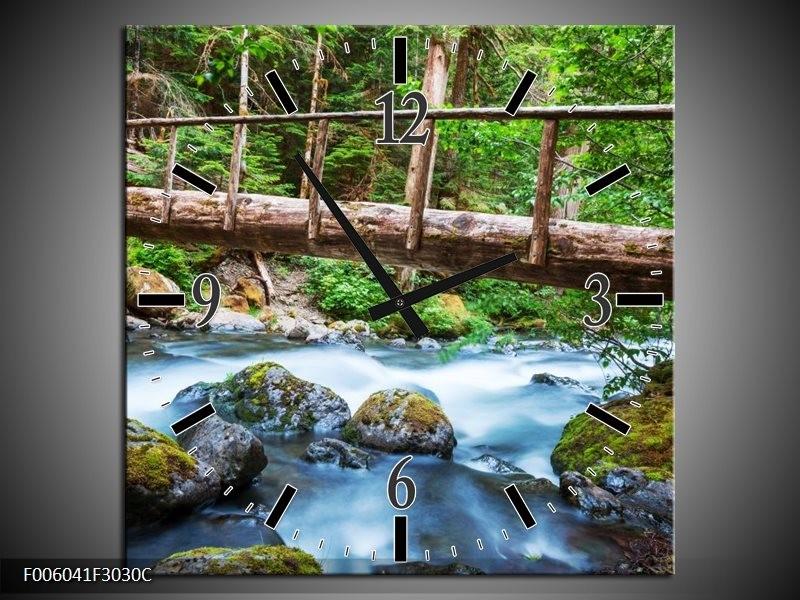 Wandklok op Canvas Natuur | Kleur: Groen, Grijs | F006041C