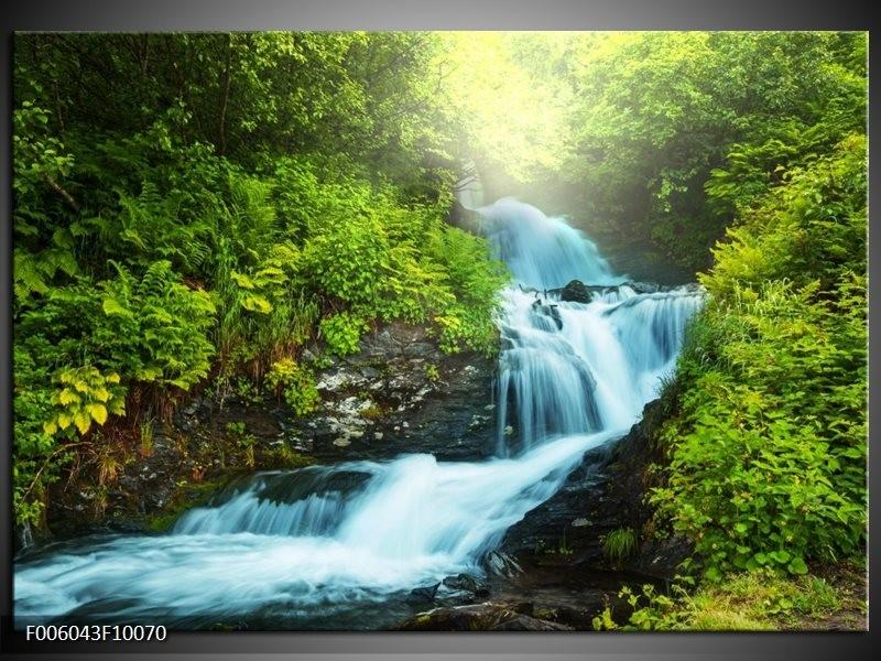 Glas schilderij Waterval | Groen, Grijs
