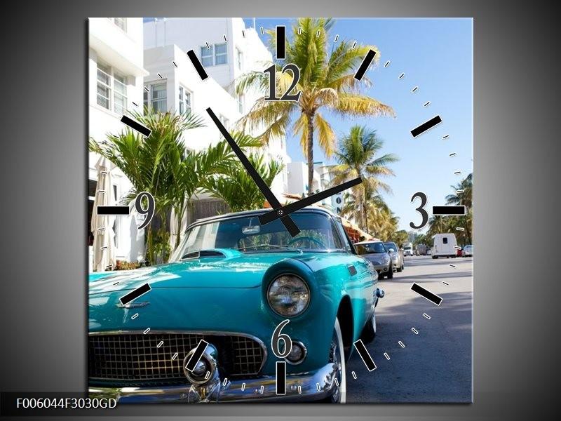 Wandklok op Glas California | Kleur: Groen, Blauw, Wit | F006044CGD