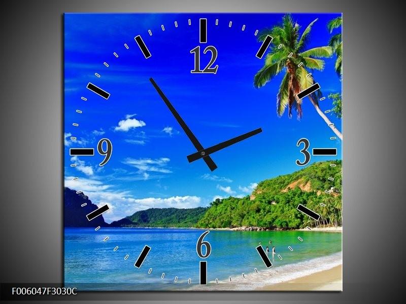Wandklok op Canvas Vakantie | Kleur: Blauw, Groen | F006047C