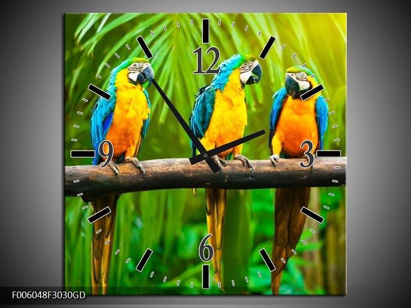 Wandklok op Glas Vogels | Kleur: Groen, Oranje, Blauw | F006048CGD