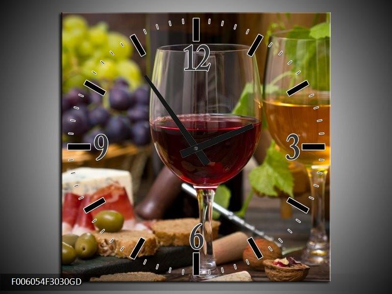 Wandklok op Glas Wijn | Kleur: Groen, Bruin | F006054CGD