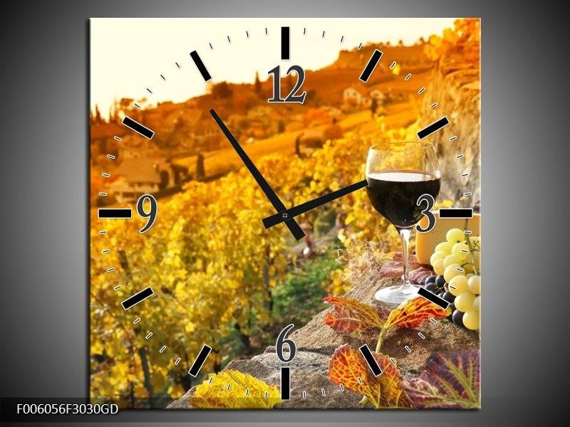 Wandklok op Glas Frankrijk   Kleur: Bruin, Oranje   F006056CGD