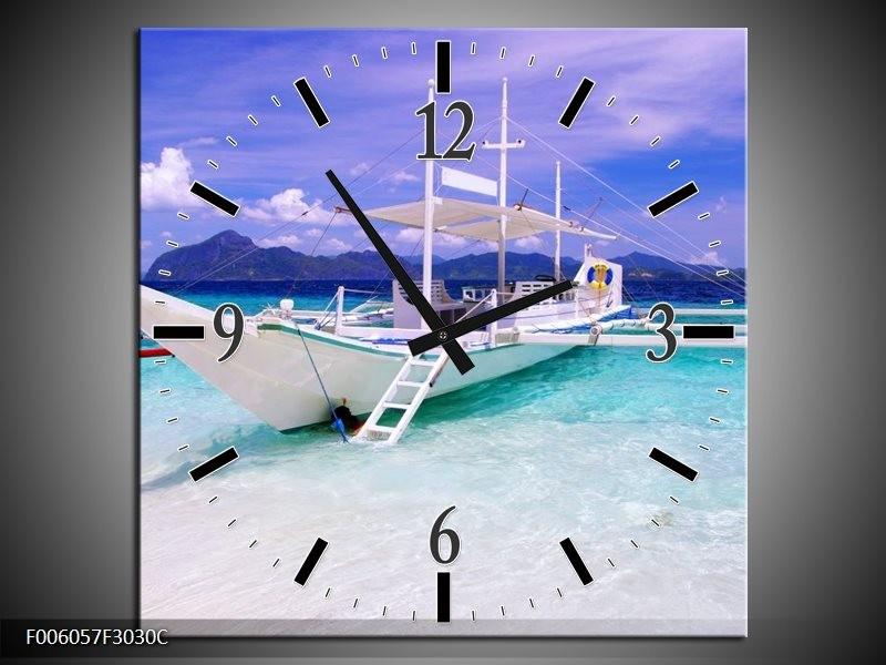 Wandklok op Canvas Boot | Kleur: Blauw, Groen | F006057C