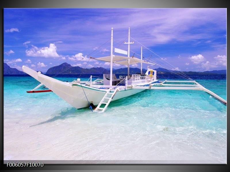 Glas schilderij Boot | Blauw, Groen