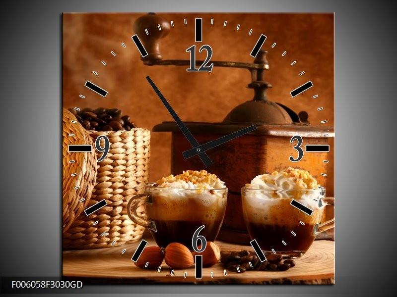 Wandklok op Glas Koffie | Kleur: Bruin | F006058CGD