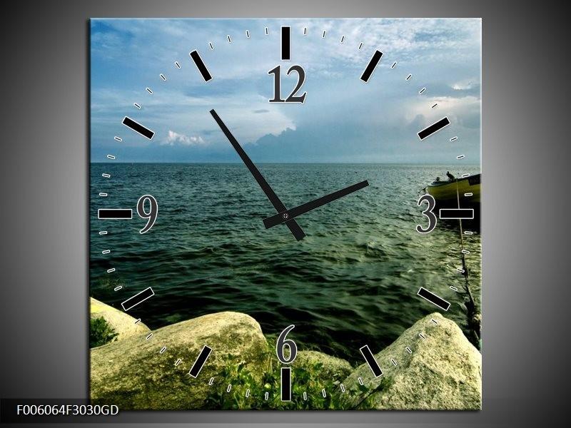 Wandklok op Glas Zee | Kleur: Grijs, Groen | F006064CGD