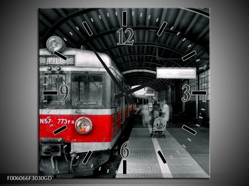 Wandklok op Glas Trein | Kleur: Rood, Grijs | F006066CGD
