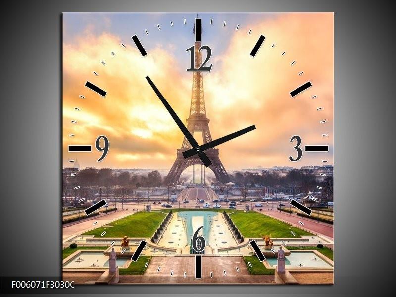 Wandklok op Canvas Eiffeltoren | Kleur: Grijs, Bruin, Groen | F006071C