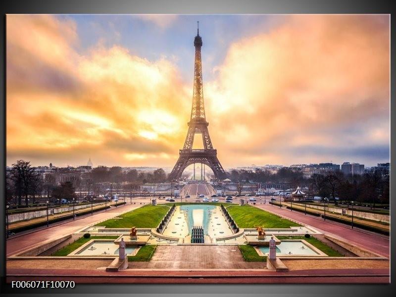 Glas schilderij Eiffeltoren   Grijs, Bruin, Groen