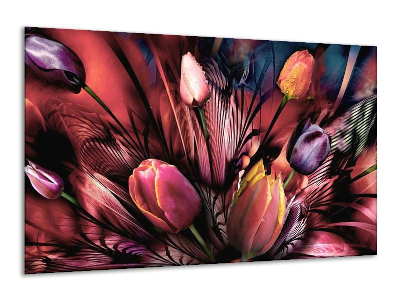 Canvas schilderij Tulpen   Roze, Paars   120x70cm 1Luik