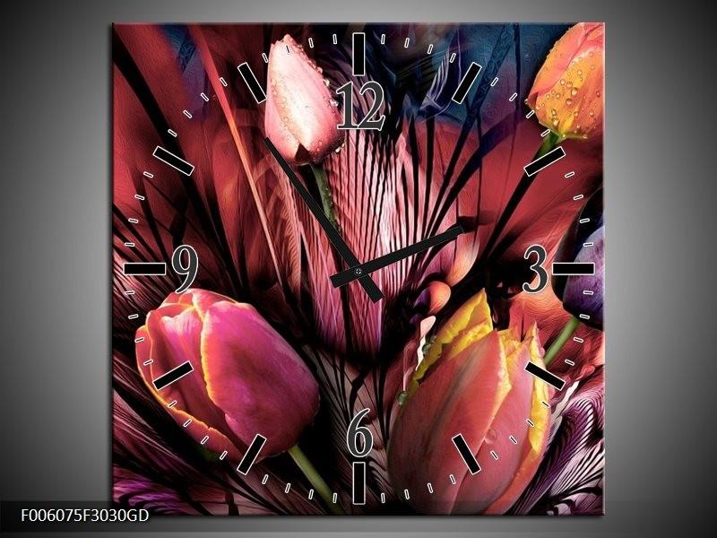 Wandklok op Glas Tulpen | Kleur: Roze, Paars | F006075CGD