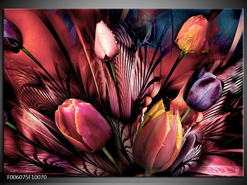 Glas schilderij Tulpen | Roze, Paars