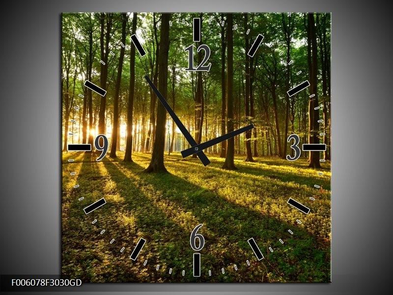 Wandklok op Glas Natuur | Kleur: Groen, Geel | F006078CGD