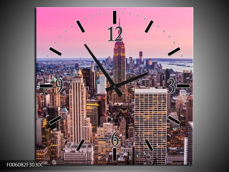 Wandklok op Canvas Wolkenkrabber | Kleur: Paars, Roze | F006082C
