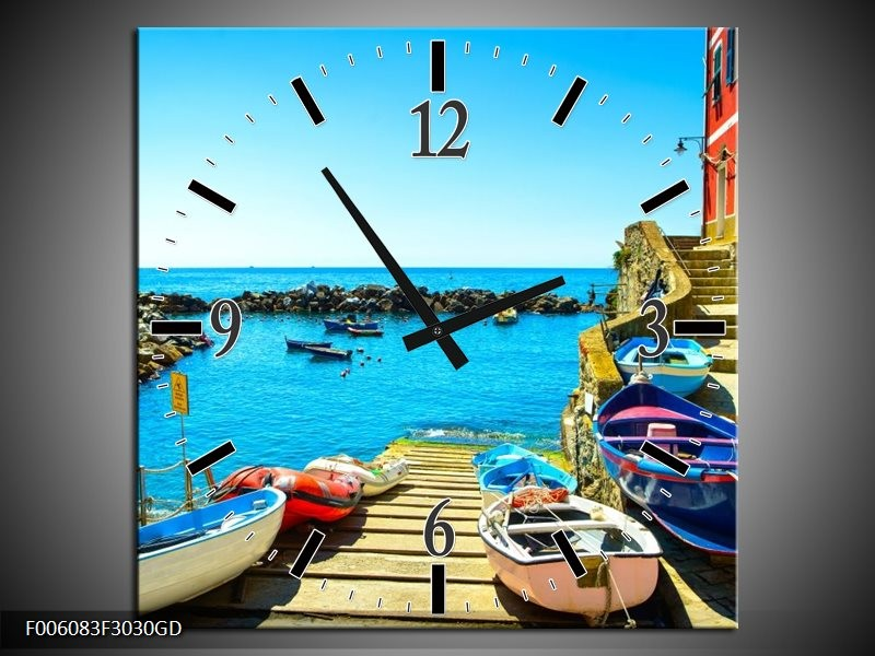 Wandklok op Glas Venetie | Kleur: Blauw, Rood | F006083CGD