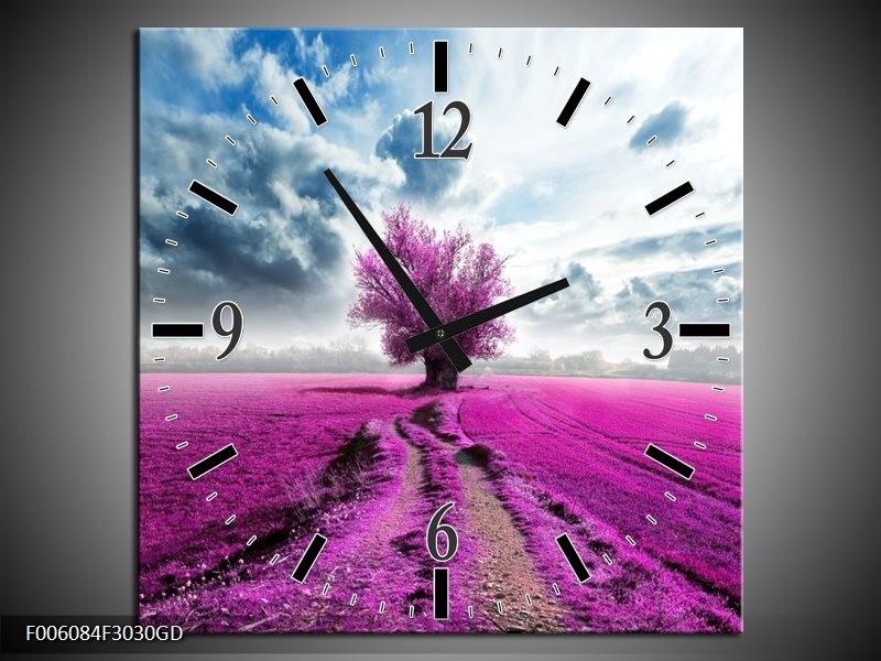 Wandklok op Glas Boom | Kleur: Paars, Roze, Grijs | F006084CGD