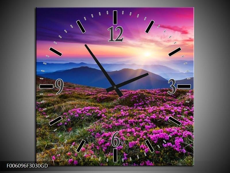 Wandklok op Glas Natuur | Kleur: Paars, Roze, Blauw | F006096CGD