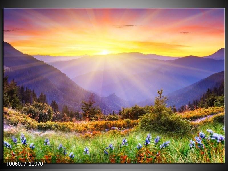 Foto canvas schilderij natuur geel groen oranje for Schilderij natuur