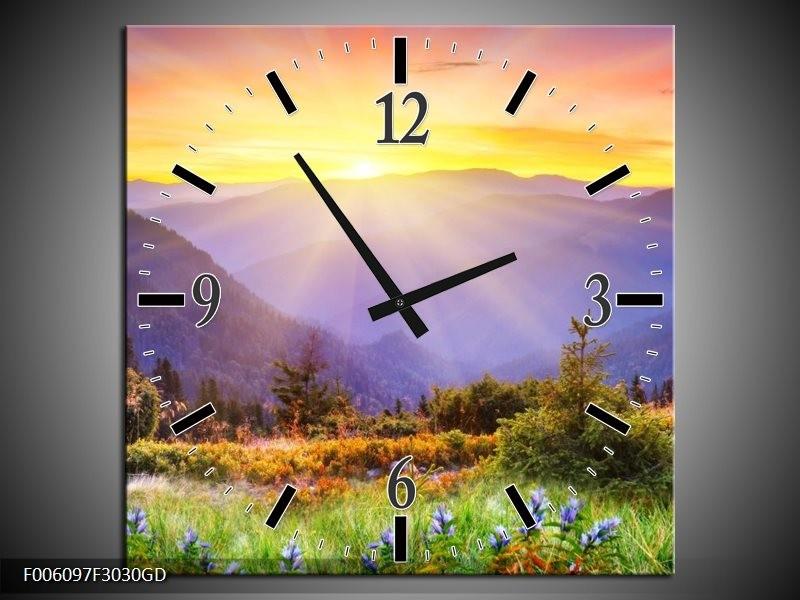 Wandklok op Glas Natuur | Kleur: Geel, Groen, Oranje | F006097CGD