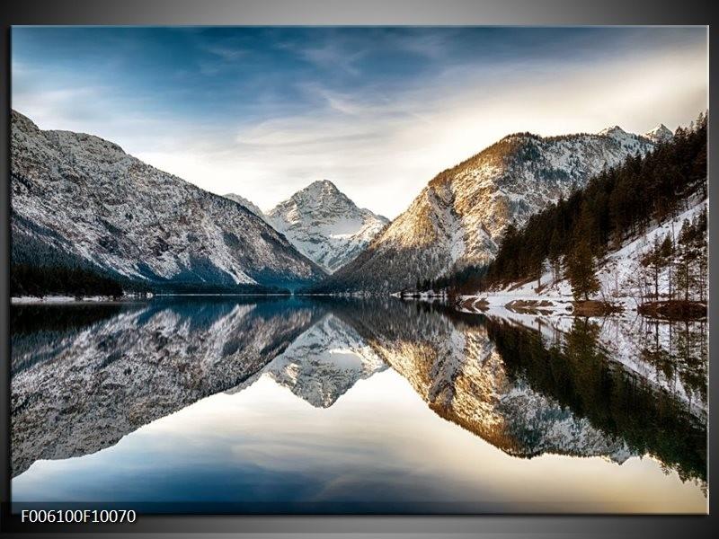 Glas schilderij Bergen | Grijs, Blauw