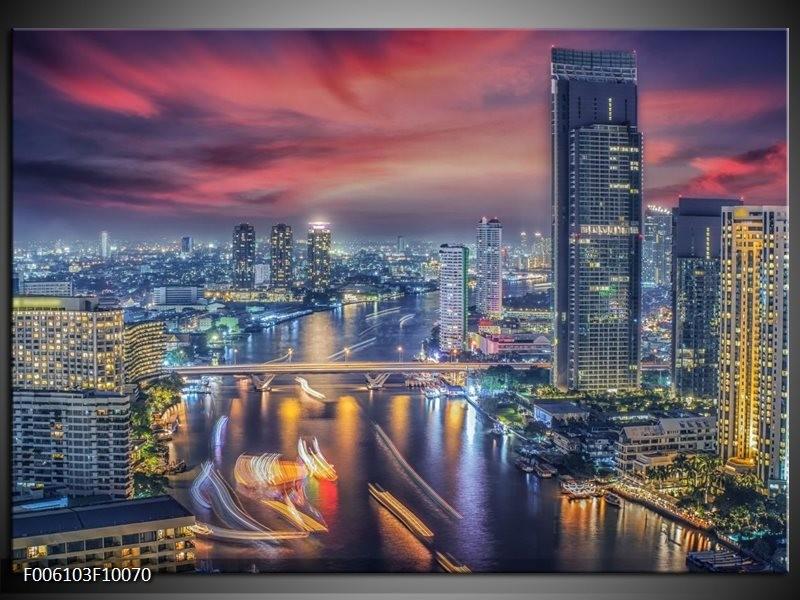Glas schilderij Wolkenkrabber | Blauw, Rood, Grijs