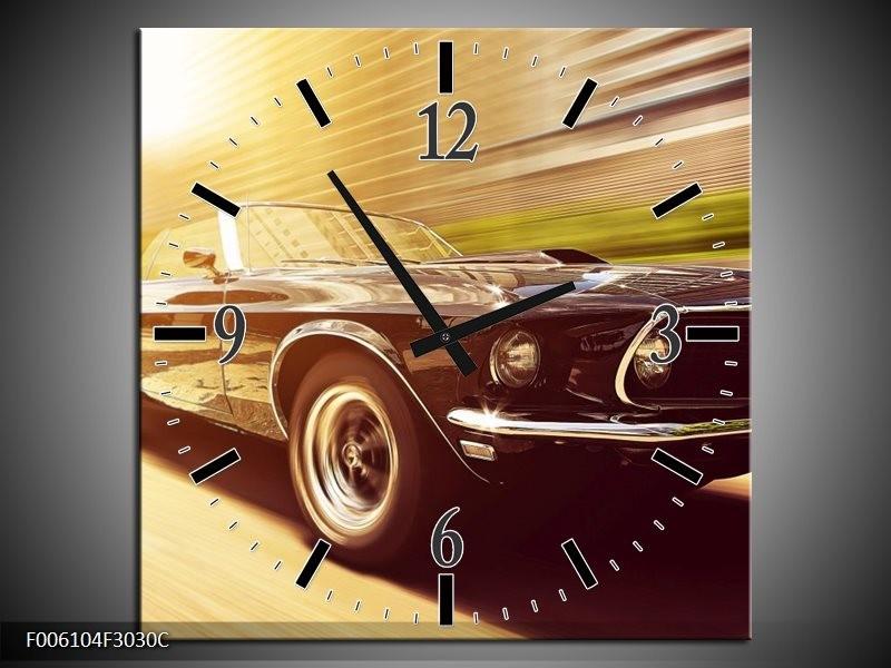 Wandklok op Canvas Mustang | Kleur: Groen, Geel | F006104C